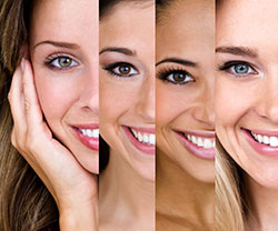 four different woman smiling