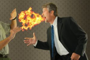 man with offensive fiery breath